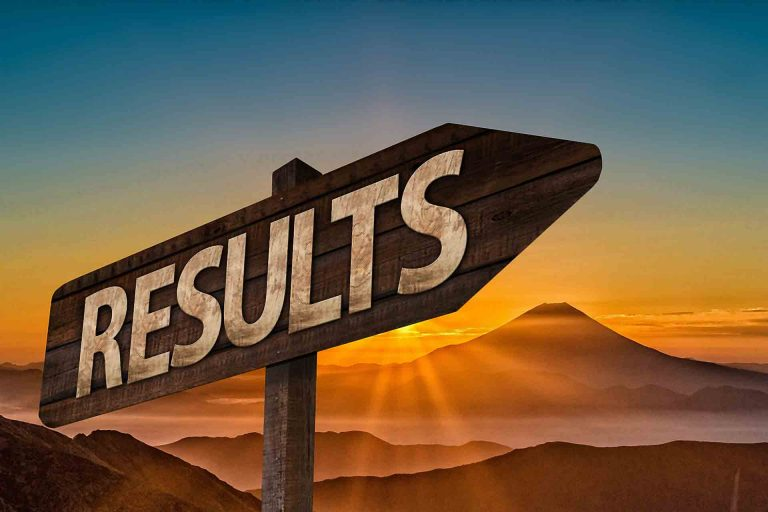 A pointed sign with the word results in the foreground with a sunrise over a mountain range in the background. This represents that results are gained over a longer term marketing plan, as trust is gain with your target audience.